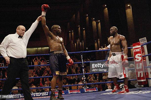 Michael Sprott is declared the winner by the referee as Danny Williams looks on during their British and Commonwealth heavyweight title fight at the...