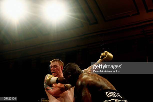 Michael Sprott of Reading lands a punch on the chin of Danny Hughes of Sunderland during the Prizefighter Heavyweights IV Final at York Hall on...