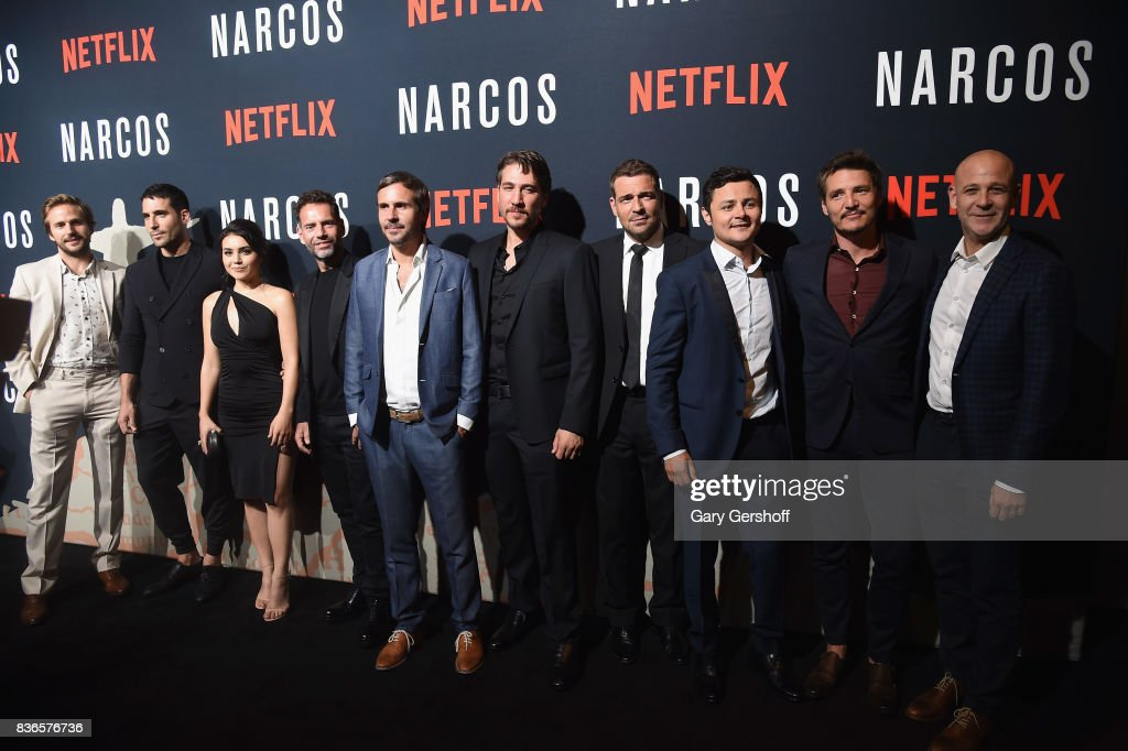 Michael Stahl-David, Miguel Angel Silvestre, Andrea Londo, Francisco Denis, Andres Baiz, Alberto Ammann, Pepe Rapazote, Arturo Castro, Pedro Pascal and Peter Friedlander attend the 'Narcos' Season 3 New York screening at AMC Loews Lincoln Square 13 theater on August 21, 2017 in New York City.