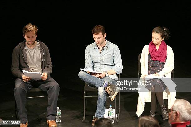 Michael StahlDavid Robbie Sublett and Anni Q attend Sundance Institute's 'Little Woods' screenplay reading at 14th Street Y on December 8 2015 in New...