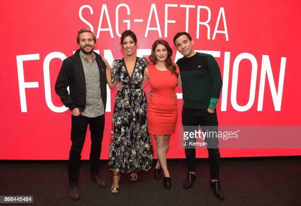 Michael StahlDavid Stephanie Beatriz Jessica M Thompson and Conrad Ricamora visit the SAGAFTRA Foundation Robin Williams Center on October 25 2017 in...