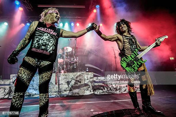 Michael Starr and Satchel of American comedy rock/glam metal band Steel Panther perform live at Alcatraz in Milan Italy on September 28 2016