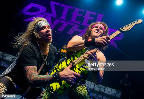 Michael Starr and Satchel of Steel Panther perform at Shepherd's Bush Empire on January 22 2018 in London England