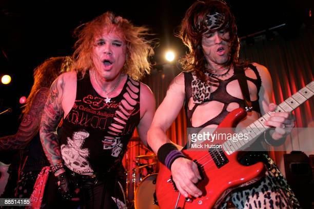 Michael Starr and Satchel of Steel Panther perform on stage at the Canal Room on April 1st, 2009 in New York.