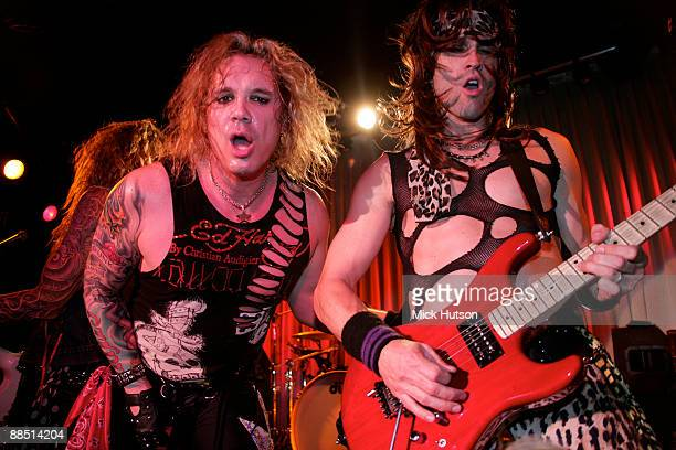 Michael Starr and Satchel of Steel Panther perform on stage at the Canal Room on April 1st 2009 in New York