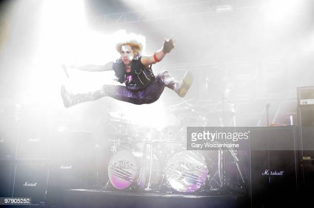 Michael Starr of Steel Panther performs at O2 Academy on March 20, 2010 in Sheffield, England.