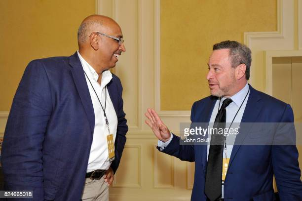 Michael Steele and David Frum at Politicon at Pasadena Convention Center on July 30 2017 in Pasadena California