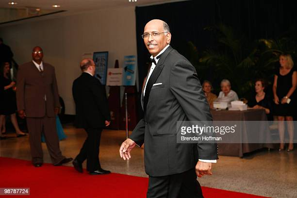 Michael Steele chairman of the Republican National Committee arrives at the White House Correspondents' Association dinner on May 1 2010 in...