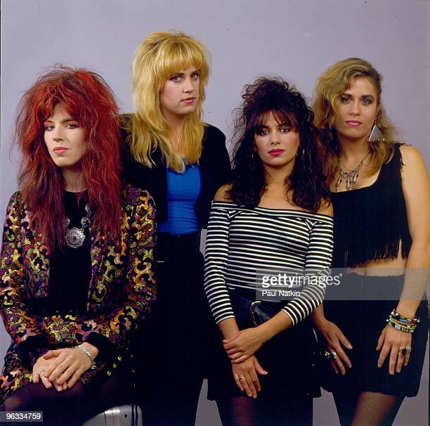 Michael Steele Debbi Peterson Susanna Hoffs and Vicki Peterson of The Bangles on 8/19/86 in Chicago Il
