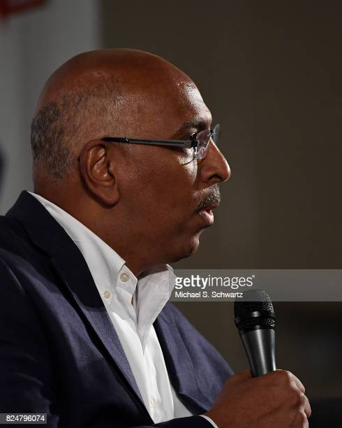 Michael Steele speaks during his appearance at Politicon 2017 at Pasadena Convention Center on July 30 2017 in Pasadena California