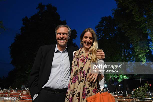 Michael Steiner, the German ambassador to India, poses with his Elise Steiner at the venue of the upcoming Ehaas-Kashmir music concert featuring...
