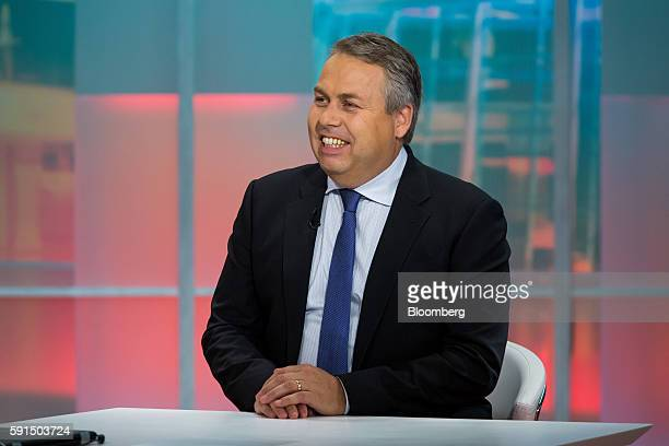 Michael Steinmann chief executive officer and president of Pan American Silver Corp smiles during a Bloomberg Television interview in New York US on...