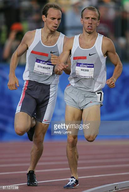 Michael Stember of Nike and Alan Webb of Nike compete in the 1500 Meter Run during the U.S. Olympic Team Track & Field Trials on July 16, 2004 at the...