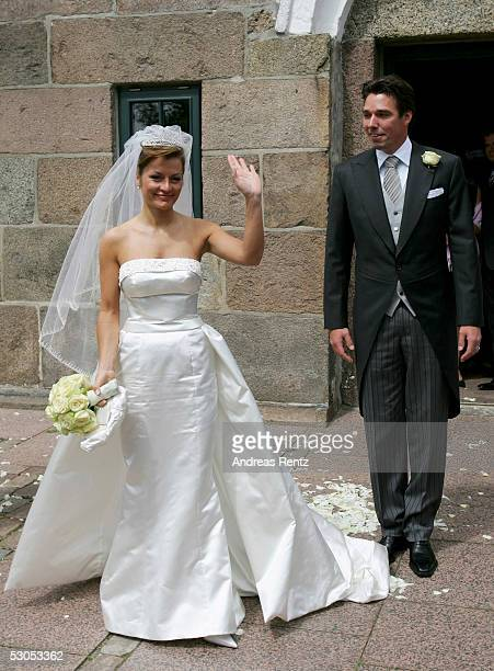 Michael Stich and his wife Alexandra Stich maiden name Rikowski at the Sankt Severin church on June 11 2005 at Sylt in Germany Michael Stich and...