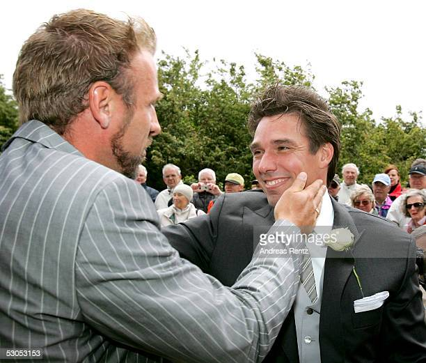 Michael Stich Ex tennis player receives best wishes from his long term tennis friend Markus Zoecke at the Sankt Severin church on June 11 2005 at...