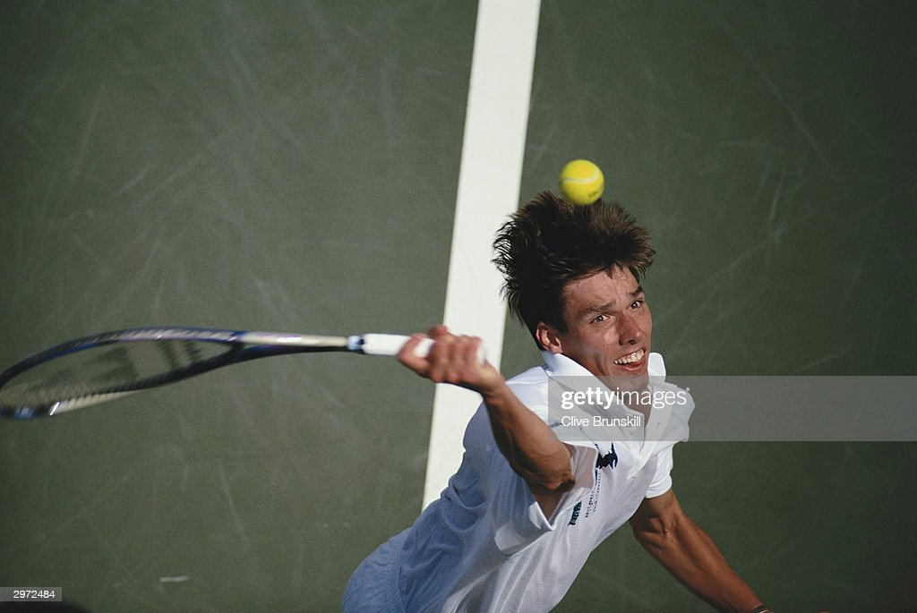 Michael Stich of Germany in action during the Final of the US Open against Andre Agassi of America held at Flushing Meadows,New York on the 11th of September 1994. Michael Stich lost the match.