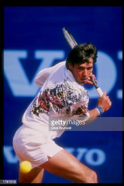 Michael Stich of Germany in action during the Volvo Monte Carlo Open in Monte Carlo Monaco