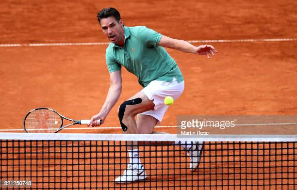 Michael Stich of Germany plays a forehand during the Manhagen Classics against Michael Stich of Germany at Rothenbaum on July 23 2017 in Hamburg...