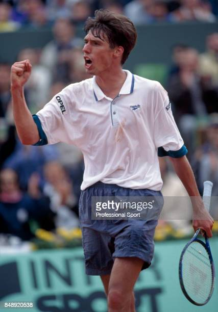 Michael Stich of Germany reacts during a men's singles match during the French Open Tennis Championships at Roland Garros Stadium in Paris circa June...