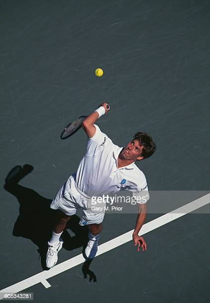 Michael Stich of Germany serves to Byron Black during their Men's Singles Fourth round match of the United States Open Tennis Championship on 3...