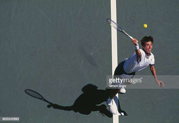 Michael Stich of Germany serves to Javier Sanchez during their Men's Singles First round match of the United States Open Tennis Championship on 30...