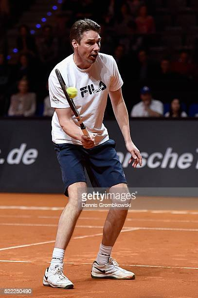 Michael Stich plays a forehand during a show match during Day 1 of the Porsche Tennis Grand Prix at PorscheArena on April 18 2016 in Stuttgart Germany