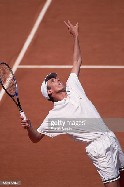 Michael Stich serves in the final of the French Open tennis tournament