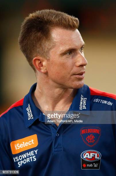 Michael Stinear Senior Coach of the Demons looks on during the 2018 AFLW Round 04 match between the Melbourne Demons and the Collingwood Magpies at...