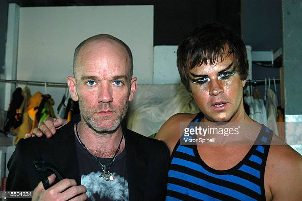 Michael Stipe and Casey Spooner of Fischerspooner during Manumission 11th Birthday Party August 6 2005 at Privilege in San Rafael Ibiza Spain