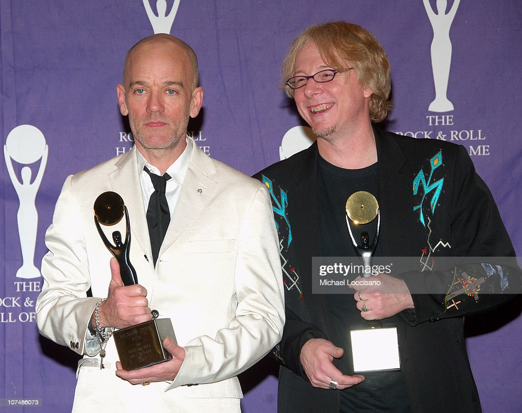 Michael Stipe and Mike Mills of R.E.M., inductees during 22nd Annual Rock and Roll Hall of Fame Induction Ceremony - Press Room at Waldorf Astoria in New York City, New York, United States.