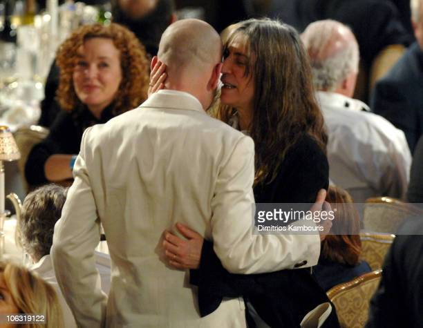 Michael Stipe and Patti Smith during 22nd Annual Rock and Roll Hall of Fame Induction Ceremony Show at Waldorf Astoria in New York City New York...