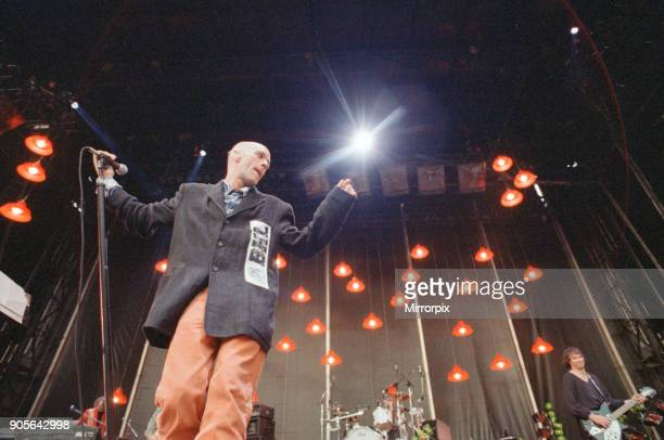 Michael Stipe lead singer with the American Rock Group REM perform at Cardiff Arms Park Cardiff Wales on Sunday 23rd July 1995 Picture set shows...