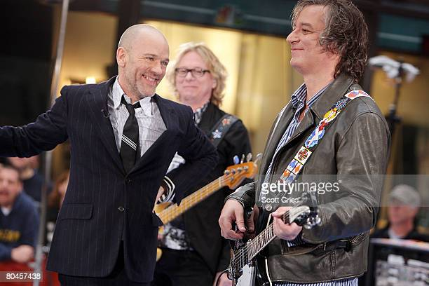 Michael Stipe Mike Mills and Peter Buck of REM perform during the NBC 'Today' show concert series at Rockefeller Center on April 1 2008 in New York...