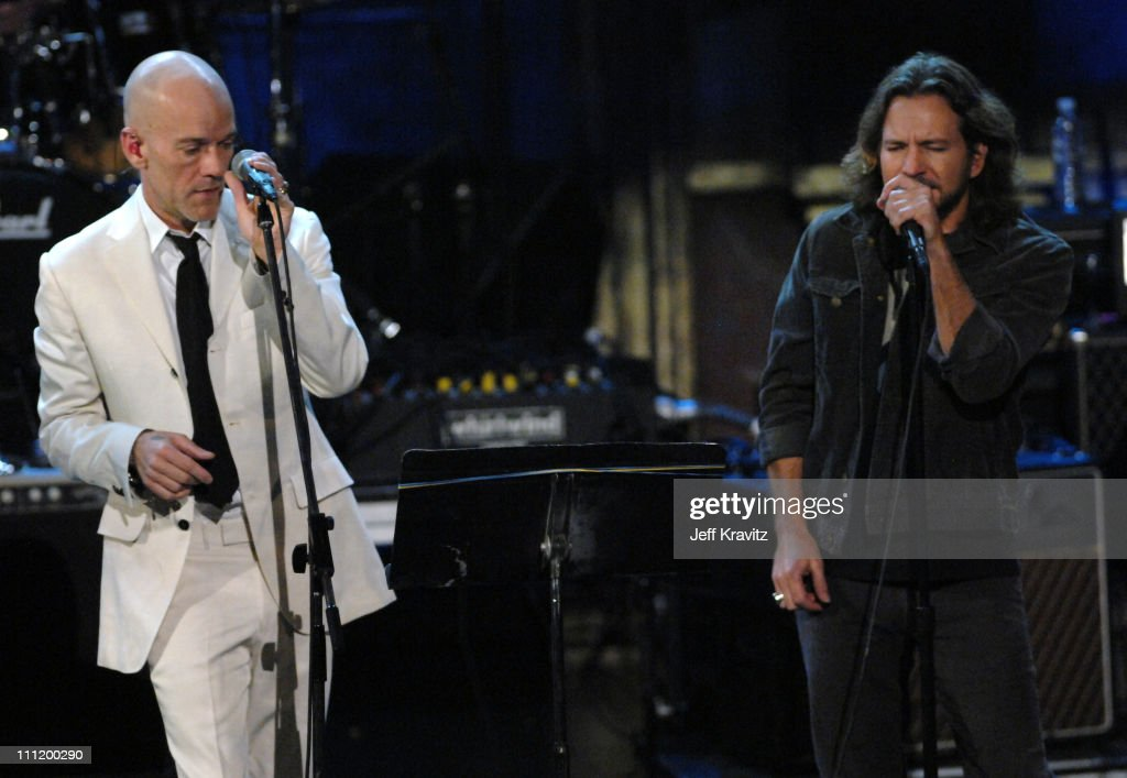 Michael Stipe of R.E.M. and Eddie Vedder performs 'Man on the Moon'