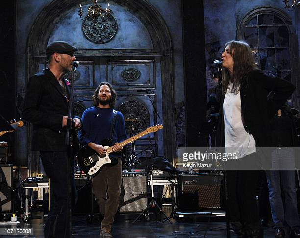 Michael Stipe of REM inductee Eddie Vedder of Pearl Jam and Patti Smith inductee *EXCLUSIVE*