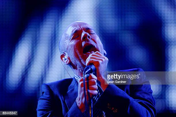 Michael Stipe of REM performs during the 2008 Voodoo Experience at City Park on October 26 2008 in New Orleans Louisiana