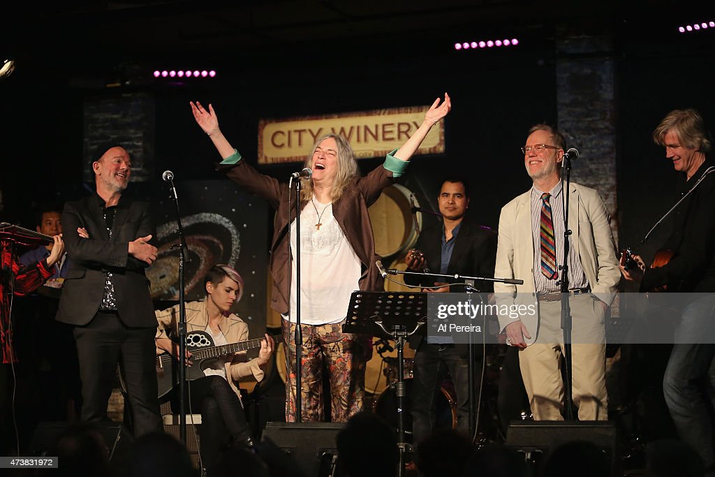 Michael Stipe, Patti Smith and Loudon Wainwright III perform at the Everest Awakening: A Prayer for Nepal and Beyond Benefit show at City Winery on May 17, 2015 in New York City.