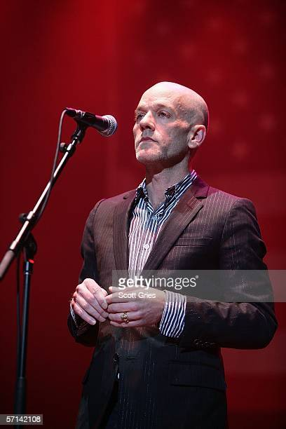 Michael Stipe performs at the Bring 'Em Home Now 3rd Iraq War Anniversary Concert at Hammerstein Ballroom March 20 2006 in New York City