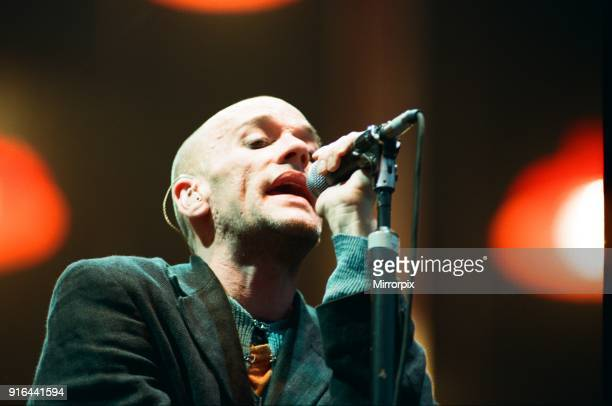 Michael Stipe, R.E.M. In concert at the Galpharm Stadium, 25th July 1995.