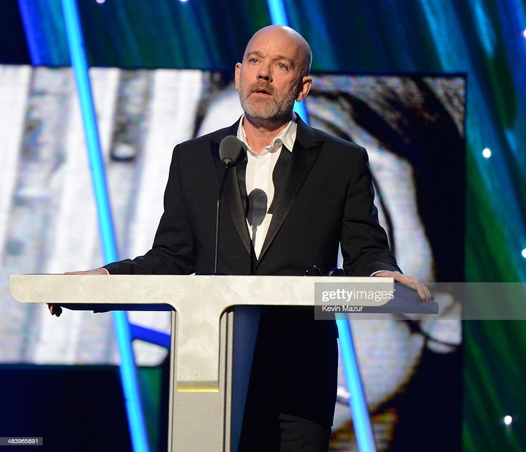 Michael Stipe speaks onstage at the 29th Annual Rock And Roll Hall Of Fame Induction Ceremony at Barclays Center of Brooklyn on April 10, 2014 in New York City.