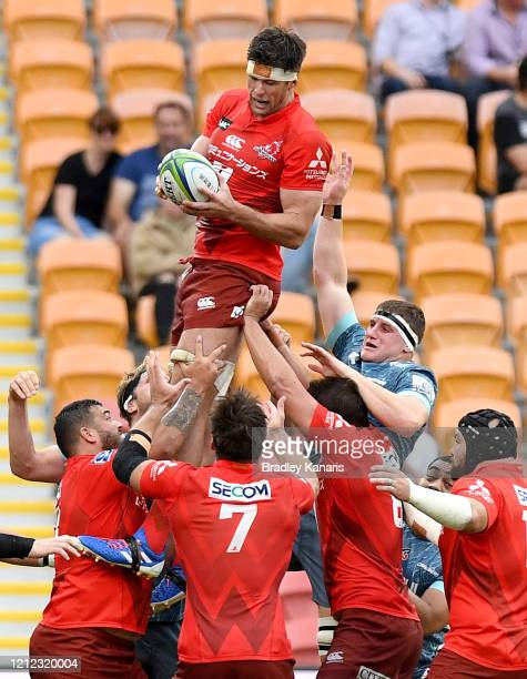Michael Stolberg of the Sunwolves competes at the lineout during the round seven Super Rugby match between the Sunwolves and the Crusaders at Suncorp...