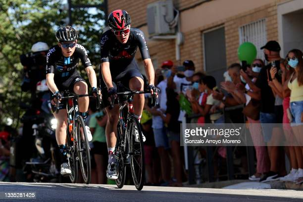 Michael Storer of Australia and Team DSM and Pavel Sivakov of Russia and Team INEOS Grenadiers compete in the breakaway during the 76th Tour of Spain...