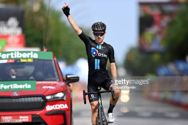 Michael Storer of Australia and Team DSM celebrates at finish line as stage winner during the 76th Tour of Spain 2021, Stage 10 a 189km stage from...