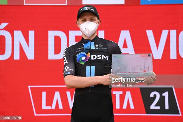 Michael Storer of Australia and Team DSM celebrates at podium as stage winner during the 76th Tour of Spain 2021, Stage 10 a 189km stage from...