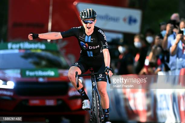 Michael Storer of Australia and Team DSM celebrates winning during the 76th Tour of Spain 2021, Stage 7 a 152km stage from Gandía to Balcón de...