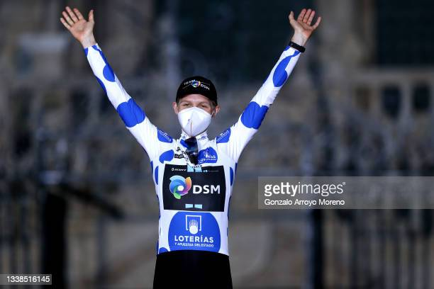 Michael Storer of Australia and Team DSM celebrates winning the polka dot mountain jersey on the podium ceremony after the 76th Tour of Spain 2021,...