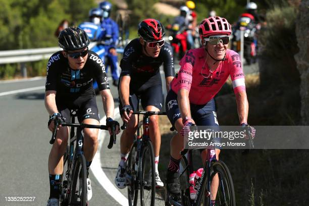 Michael Storer of Australia and Team DSM, Pavel Sivakov of Russia and Team INEOS Grenadiers and Lawson Craddock of United States and Team EF...