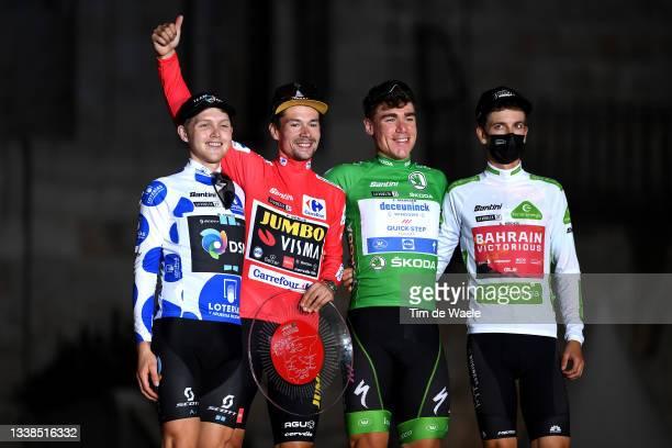 Michael Storer of Australia and Team DSM polka dot mountain jersey, Primoz Roglic of Slovenia and Team Jumbo - Visma red leader jersey, Fabio...