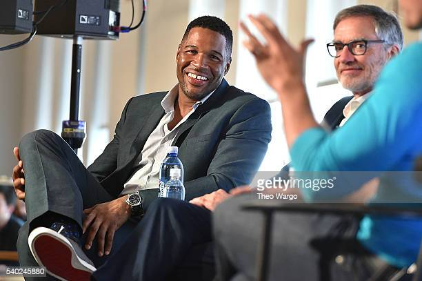 Michael Strahan and Chairman and CEO of iHeartMedia Inc Robert Pittman speak at the iHeartMedia and WeWork host launch event to introduce new...