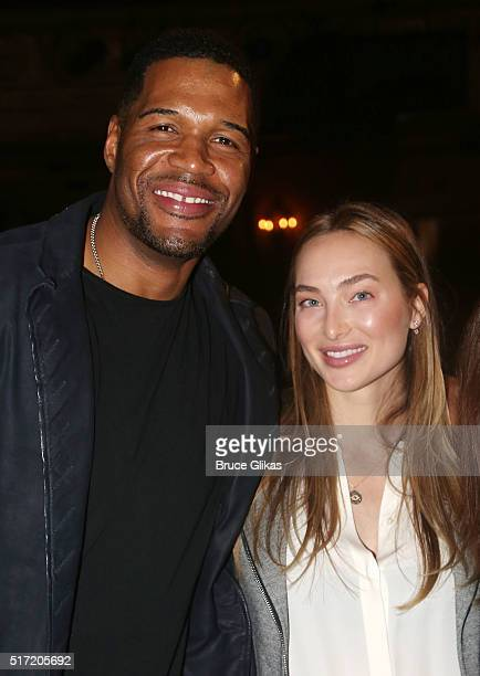 Michael Strahan and girlfriend Kayla Quick pose backstage at the hit musical Kinky Boots on Broadway at The Al Hirshfeld Theatre on March 23 2016 in...